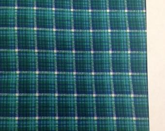 Vintage Flannel Fabric / Plaid Flannel / Vintage Fabric - 1 Yard - Green Flannel / Pajama Fabric / Green Blue Flannel / Cotton Flannel