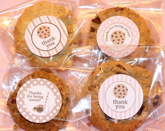 Milk and Cookies Favor Tags - pink and tan - INSTANT DOWNLOAD | Milk and Cookies Thank You Tags | Cookies Birthday Party Printables