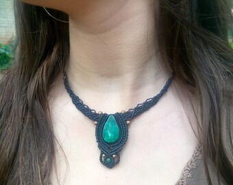 Handmade ethnic Macramé necklace with Chrysocolla stone  Bohemian energy gypsy and fairy festival macrame jewelry
