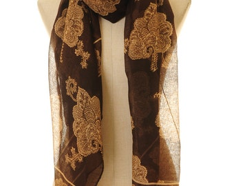Flower Scarf | Infinity Scarf | Brown Scarf | Ethnic Scarf | Neck Scarf | Fashion Scarf | Bohemian Scarf | Boho Scarf S-151