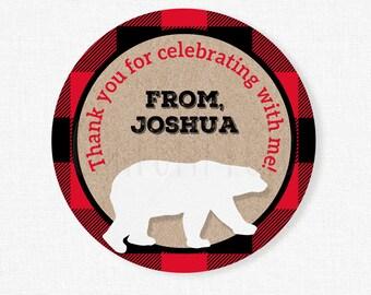 Lumberjack Party Favor Tags, Buffalo Plaid Birthday Tags, Bear Favor Tags, Personalized