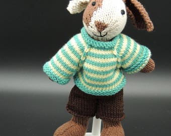 rabbit, soft toy, hand-knitted, safety stuffing, embroidered features, gift for a child, removable clothes