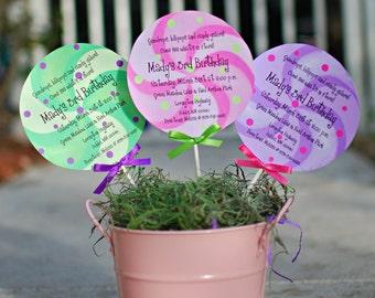 Candyland Lollipop Birthday Invitation