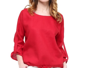 Linen blouse with pockets