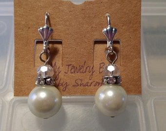 Lustrous Dangle Lever Back Earrings made with Creamy White Pearls and Crystals