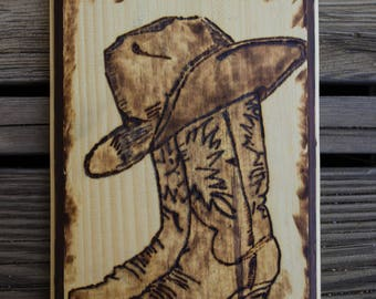 """Cowboy Hat and Boots 9.5""""x6.75""""x1"""""""