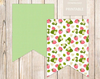 PRINTABLE . strawberry banner flags . strawberry banner . strawberries & flowers . banner garland . summer fruit . INSTANT DOWNLOAD