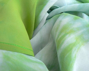 Pure Silk Georgette Scarf - 'Spring Equinox' - Handmade and Hand dyed