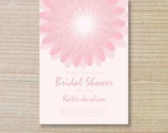bridal shower invitation -  printable invitation - pink flower
