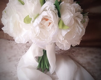 White bridal bouquet large white peony 20 head brid bouquet shimmer peony bouquet
