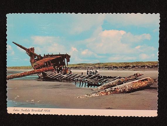 Vintage Postcard.. Oregon Coast.. 1906 Wreck of Sailing Ship PETER IREDALE