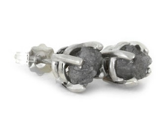 Rough Diamond Stud Earrings in Sterling Silver