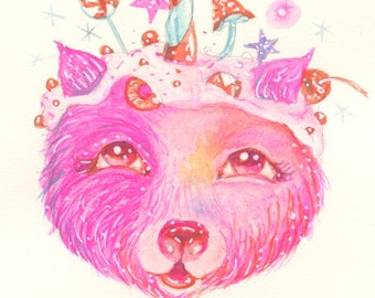 Pink Love Bear Postcard