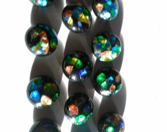 One Dozen Vintage Varicolored Glass Cabochons Color Foil