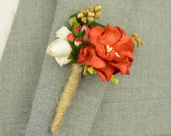 Rustic Wedding - Grooms Buttonhole - Woodland Wedding - Best Man - Christmas Wedding - Winter Wedding - Red Wedding - Mens Boutonniere