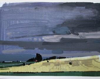 Evening Yellow, Original Summer Landscape Collage Painting on Paper, Stooshinoff