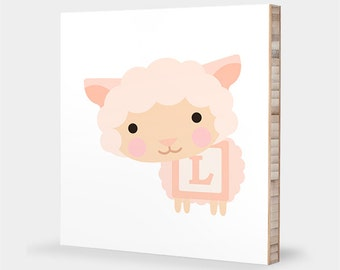 L is for Lamb : ABC Block Bamboo Wall Art Series // Alphabet Kids Wall Art Nursery Room Decor Animal Art Baby