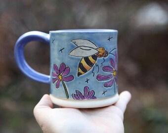 Stoneware Mug Bee and Flowers with Blue Glaze