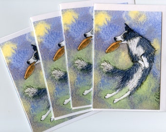 4 x Border Collie dog greeting cards - Got it!