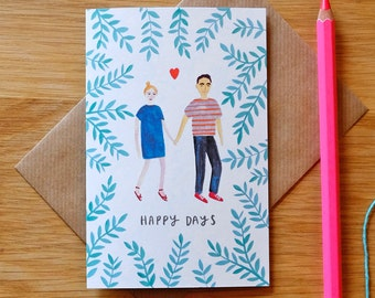 Happy Days Illustrated Card