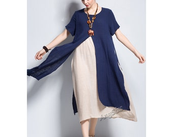 Anysize New Version with pockets fake two piece slit design linen&cotton dress plus size dress plus size clothing Spring Summer dress Y110