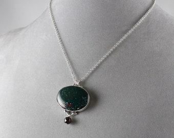 Bloodstone pendant etsy dainty bloodstone pendant gemstone pendant healing gemstone layering necklace bloodstone necklace mozeypictures Images