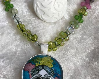 Searching the World bead woven necklace