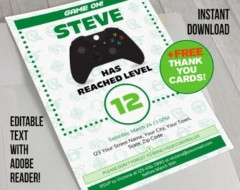 Video Game Invitation with FREE Thank you Card!- INSTANT DOWNLOAD - Video Game Party (Green) - Edit and print at home with Adobe Reader