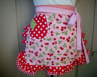Womens Aprons - Apron with Cherry Fabric - Sweet Cherry Aprons - Handmade Aprons - Annies Attic Aprons - Etsy Aprons - Waist Aprons - Aprons