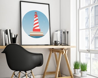 Nautical nursery print - lighthouse - nautical nursery - instant download