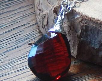 Garnet Necklace, January Birthstone Necklace, Gemstone Necklace, Natural Gemstone, Sterling Silver Necklace