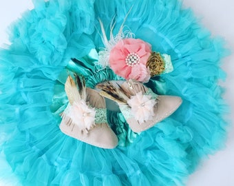 Wild One pettiskirt, headband, and fringe boots set. You choose the colors.