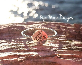 Compass Ring, skinny band stack ring, Sterling Silver Argentium Silver Stack Rings, Sea life nautical rings, beach ocean jewelry