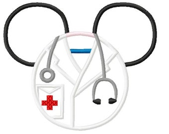 Character Inspired Ears Doctor Medical  Embroidery Applique Design