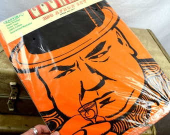 Vintage WC Fields BBQ Apron, Hat and Mitt Set - NIB Sealed Package by Parvin