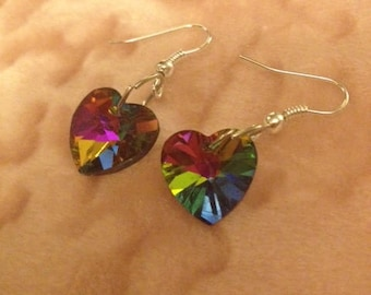 Stunning Crystal Rainbow Heart Earrings - Choose your backing! Flashback to the 80s!