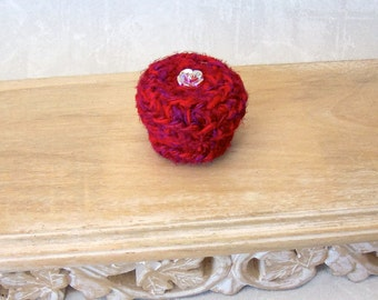 Little Red Basket - Czech Glass Rose Button Embellished Silk Tapestry Basket with Lid - Valentine's, Mother's Day, Wedding Anniversary Gift