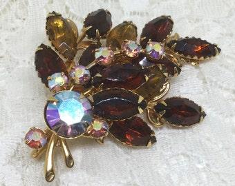 Vintage Amber  and AB Rhinestone Leaf Brooch Pin