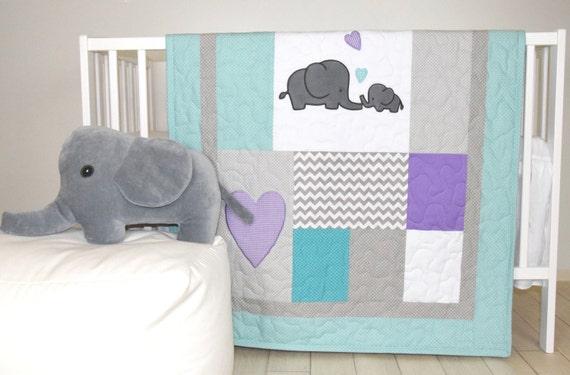 Elephant Baby Quilt, Teal Gray Purple Crib Bedding, Gray Chevron  Elephant Blanket, Grey Safari Nursery