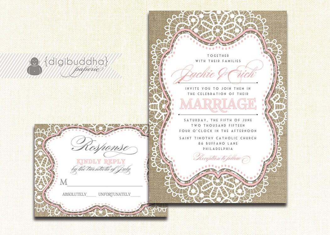 Pink Lace Burlap Wedding Invitation & RSVP 2 Piece Suite Blush