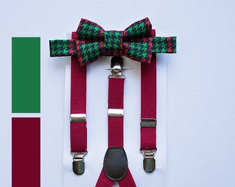 Boys Red Green Bow Tie Suspenders, Boys Christmas Outfit, Santa Photo Outfit, Stocking Stuffer, First Birthday Boy, Toddler Bow Tie, Gift