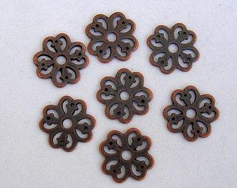 20pcs-Pendant, Charm Connector Flower  Antique Copper 15mm.