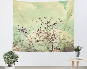 Art Tapestry Wall Hanging Birds of a Feather Modern Photography Unique home decor bird trees brown branches mint green sky vintage style