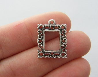 8 Frame charms antique silver tone P370