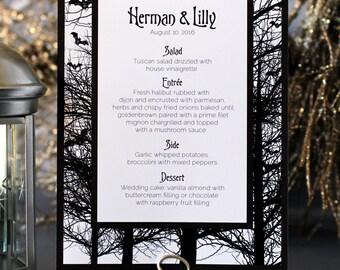Halloween Bats Trees Menu Spooky Creepy Gothic Dark Black White Scary Fall Wedding Party  - Halloween Font