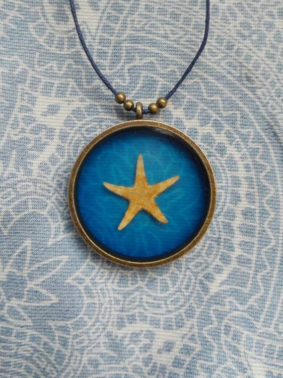 Starfish necklace Real starfish pendant Navy blue Ocean necklace Bridesmaids gift Summer wedding Nautical gift for her Summer pendant cord