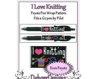 Bead Pattern Peyote(Pen Wrap/Cover)-I Love Knitting