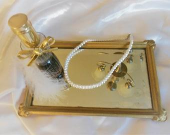 Vintage vanity tray, rectangle gold  perfume tray,small wall mirror, mirror tray,powder room tray,jewelry tray with beveled mirror.