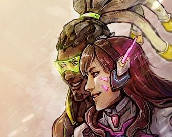 BunnyRibbit - D.VA&Lucio Overwatch Print