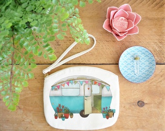 Caravan Canvas Zip Bag, Makeup Bag, Coin Purse, Small Accessory Pouch, Stocking Filler, Caravan Gift